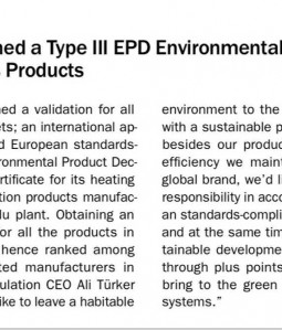ODE, Obtained a Type III EPD Environmental Label for its Products