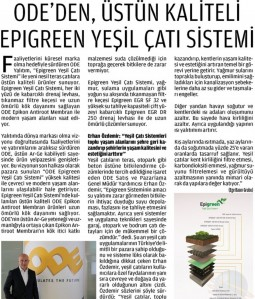 ODE'den, Üstün Kaliteli EPIGREEN Yeşil Çatı Sistemi