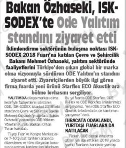 Bakan Özhaseki, ISK-SODEX'te ODE Yalıtım Standını Ziyaret Etti