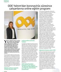 ODE Yalıtım'dan Koronavirüs Süresince Çalışanlarına Online Eğitim Programı