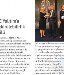 ODE Yalıtım'a Sürdürülebilirlik Ödülü