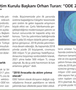 ODE Yalıtım Yönetim Kurulu Başkanı Orhan Turan- 'ODE 2017 Yılında Yüzde 30 Büyüdü'