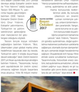 ODE YALITIM ESKİŞEHİR ÜRETİM TESİSİNE ''YILIN YATIRIMI'' ÖDÜLÜ
