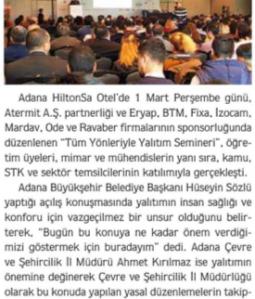 Tüm Yönleriyle Yalıtım Semineri'nin Üçüncüsü Adana'da Düzenlendi